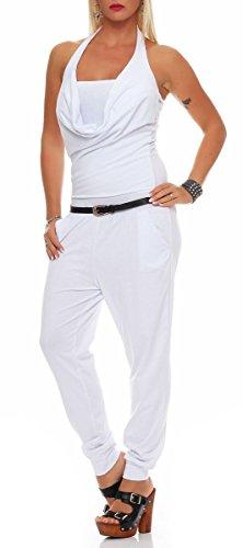 malito Damen Einteiler in Unifarben | Overall mit Neckholder | Jumpsuit rückenfrei | Romper mit Gürtel �?Hosenanzug 8966 Weiß
