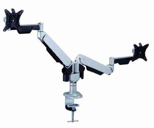 Allcam gsd240h Gas Spring Twin Monitor Ständer mit Arm Extensions, Schreibtisch Klammer und Tülle Silber für 2LCD