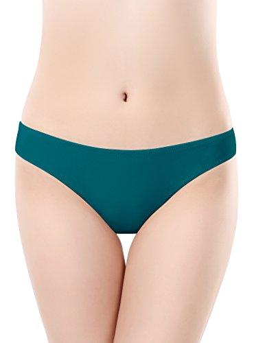 SHEKINI Damen Bandeau Bikini Set Bademode Schwimmanzug Badeshorts Badeslip Bikinislip Slip Brazilian Kurze Hose Bottom Unterteil Rüsche Design Rückt Näher (Medium, Dunkelgrün) - Bottom-hose