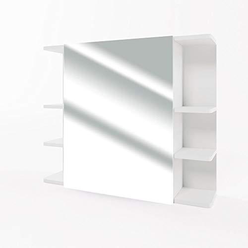 VICCO Spiegelschrank Fynn 80 cm - Badezimmer-Spiegel Hängespiegel Badspiegel Badezimmerspiegel (Weiß) - Größter Bad-beleuchtung