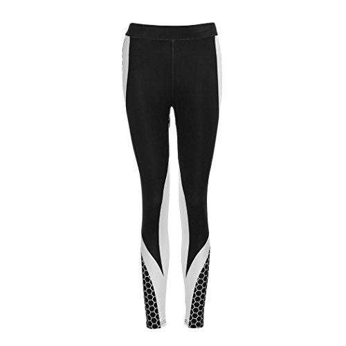 YULAND Haremshosen Frauen Damen Sommer Hosen Sommerhose Damen Hosen - Frauen 3D Drucken Yoga Skinny Workout Gym Leggings Sport Training beschnitten Hosen (S, Schwarz) -