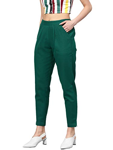 JAIPUR VASTRA Women's/Girls Cotton Flex Casual Solid Trouser Pants (Teal Green, L)