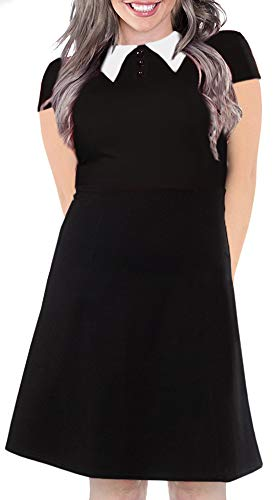 For G and PL Womens Halloween Wednesday Addams a line Flare Midi Dress