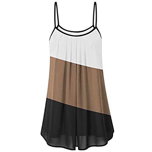 Andouy Damen - Camis Top - Oblique - Gestreifter Farbblock ärmellose Weste Gr.34-42 Plissee Lose Bluse(M(36),Kaffee) -