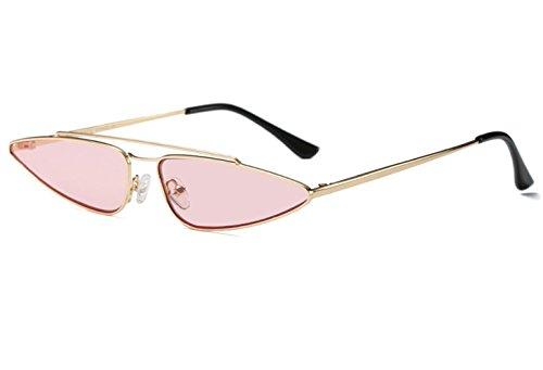zhxinashu Frauen Dame Cat Eye Legierungs Rahmen Weinlese Klassische Sonnenbrille Art Und Weise Shades Eyewear UV400 (Golden/Rosa)