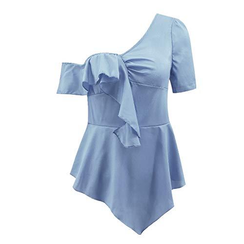 Frauen Casual V-Ausschnitt Chiffontops Lange verstellbare T-Shirt Atmungsaktives Frühlings-T-Shirt, Schweißableitendes T-Shirt - für Outdoor-Sportarten Blue01 L -