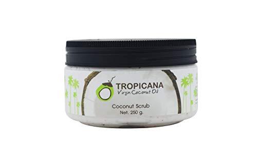Tropicana Oil Natürliches Kokosnuss Körperpeeling 250g | mit Kokosöl, Shea Butter und Kokosnussschalen Pulver Duschpeeling | Naturkosmetik Body Scrub Männer und Frauen | Veganes Körper-Peeling - Damen Body Powder
