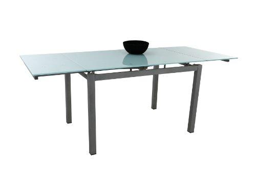 Glastisch Romina, ESG Glasplatte Weißglasoptik, Metallgestell alufarben, Ausziehbar, 110-170 x 70 x 75cm  Apollo