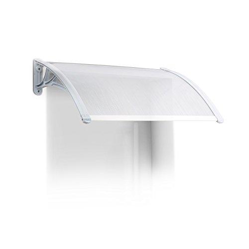 Relaxdays Vordach Haustür, Kunststoff, Aluminium, Pultbogenvordach, HxBxT: 80 x 60 cm, Überdachung, Transparent