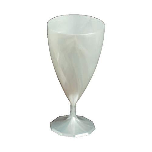 6 verres à vin mariage plastique jetables couleur blanc nacré - Adiserve -