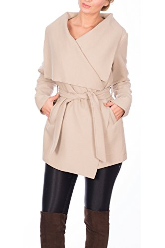 Kendindza Damen Mantel Trenchcoat mit Gürtel Onesize Lang und Kurz (Onesize, Beige Kurz)