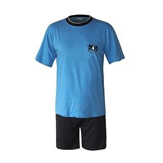 Herren Pyjama Schlafanzug kurz Herren Pyjama kurz Herren Shorty Schlafanzug aus 100% Baumwolle (XL/54-56, oberteil blau/hose uni)