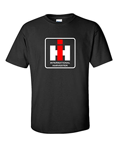 IH International Harvester Logo Black T-Shirt Men's Round Neck Cotton T-Shirt Bottoming Short Sleeves Tops Clothing -