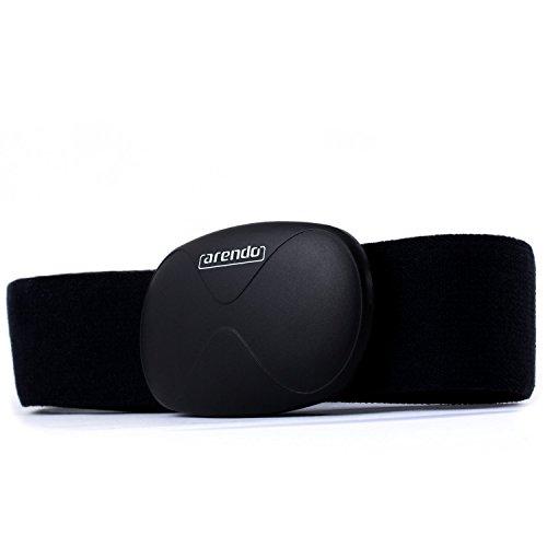 Arendo - correa de ritmo cardiaco / medidor de pulso (pulsómetro) | correa pectoral | transmisor con Bluetooth Smart 4.0 | impermeable | solo 14 gramos | negro | para productos Apple | con aplicación i-gotU Sports en muchos dispositivos Android