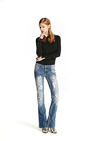 Track Seven Damen Basic Distressed Ripped Bootcut Flare Jeans L Blau