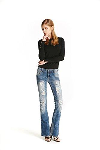 Track Seven Donna Distressed Strappato Bootcut Jeans a Zampa Pantaloni Blu Medium