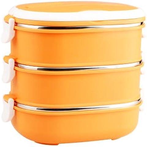 FG.X.YL L'Acciaio Inossidabile beuta da vuoto scatola di pranzo rettangolo con uno studente lunch box bambini Bento Boxes. In una singola fetta multi-tier scatola di pranzo,arancio Tier 3