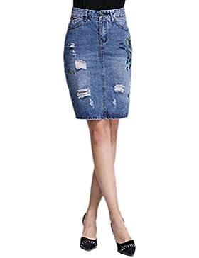 Anguang Mujer Arrancado Roto Bodycon Medio Vestir Alto Cintura Delgado Ajuste Lápiz Mezclilla Falda