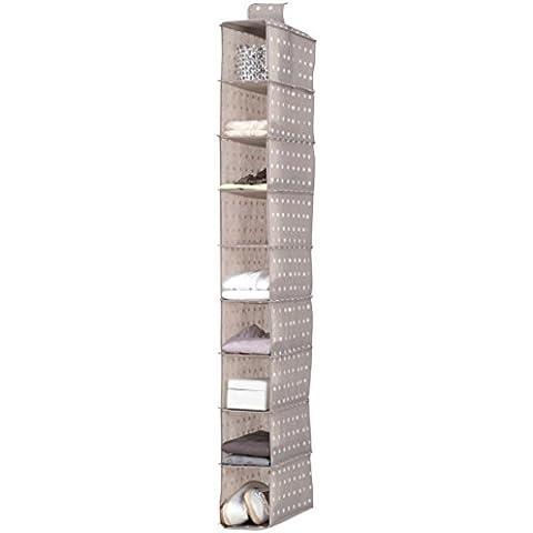 Compactor Rivoli - Organizador estante para zapatos, 9 niveles, color beige con lunares blancos