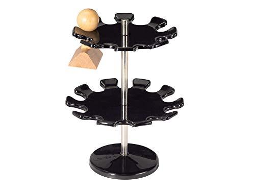 Maul Stempelträger rund, für 18 Stempel, Metall, Kratzfest, drehbar, 140 mm Breite, 190 mm Höhe, 2 Etagen, Schwarz