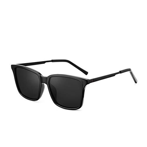 YUN Sonnenbrille Herren, UV400-Schutzglas Gummi-Nasenpads Retro Polarisierte Gläser zum Fahren und für den Außenbereich Besser (Blau) (Color : Black)