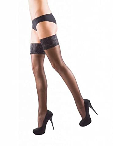 Silky Shine Luxury Lace Top Hold Up Stockings - 15 Denier, Color-Nude, Size-Xlarge