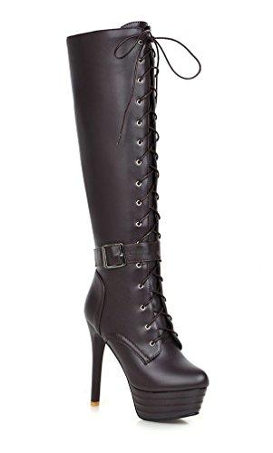YE Damen High Heels Plateau Stiefel mit Schnürung Stiletto Schnallen 13cm Absatz Boots