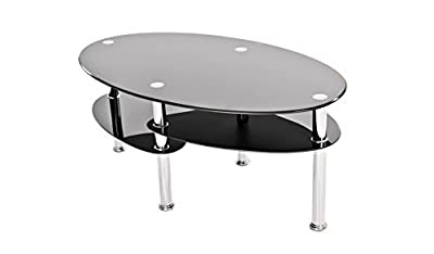 Neotechs® Modern Black Glass & Chrome Oval Living Room Coffee Table With 2 Shelves produced by Neotechs® - quick delivery from UK.