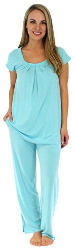 Kurzarm-Pyjama für damen von Sleepyheads aus atmungsaktiver Viskose mit taschen zweiteiliger schlafanzug(PMR1910-2021-UK-LRG), L (46-48), Karibik-Blau