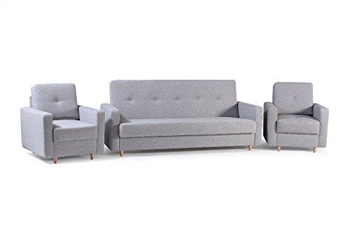 Polstergarnitur 3er Sofa und zwei Sessel Couch mit Bettkasten und Schlaffunktion Wohnzimmer Set 311 LIVIA