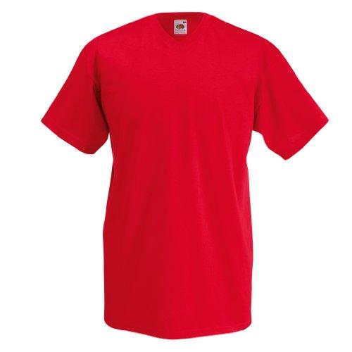 Fruit Of The Loom Valueweight T-shirt für Männer mit V-Ausschnitt, kurzärmlig Rot - Rot