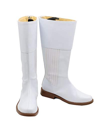 Hohe Stiefel Kostüm - Manfis Star Wars Damen Cosplay Kostüm Leia Organa Stiefel Cosplay Schuhe-Boots Deluxe Film Cosplay Adult Weiß PU Hohe Schuhe Kostüm Zubehör