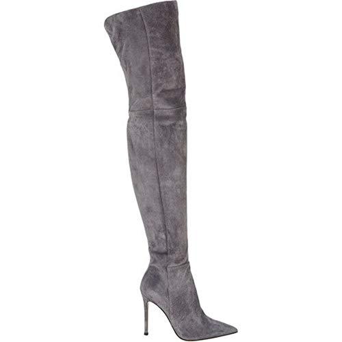 nee Schenkelhoch Über Das Knie Oberschenkel hoch Stiefel Stöckelabsatz Hoher Absatz Schwarz Braun Grau Wildleder Größe 35-46, Gray ()