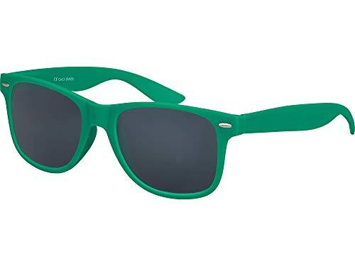 Balinco Hochwertige Nerd Sonnenbrille Rubber im Wayfarer Stil Retro Vintage Unisex Brille mit Federscharnier - 96 verschiedene Farben/Modelle wählbar (Dunkelgrün - Smoke)