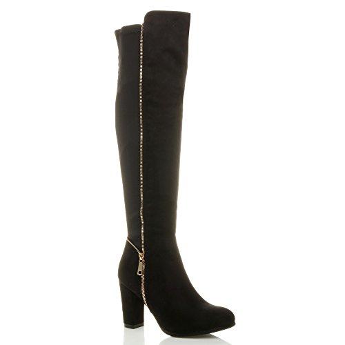 Femmes haut talon bloc élastique zip d'or bottes cheval cuissardes pointure Daim noir