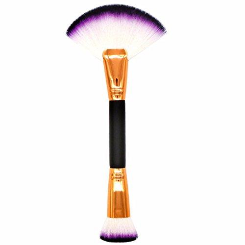 Leisial Pinceau de Maquillage Double Brosse Brosse de Ventilateur et Brosse Plate Brosse à Poudre éparpillée Brosse de Fondation Outil de Maquillage(Style B)