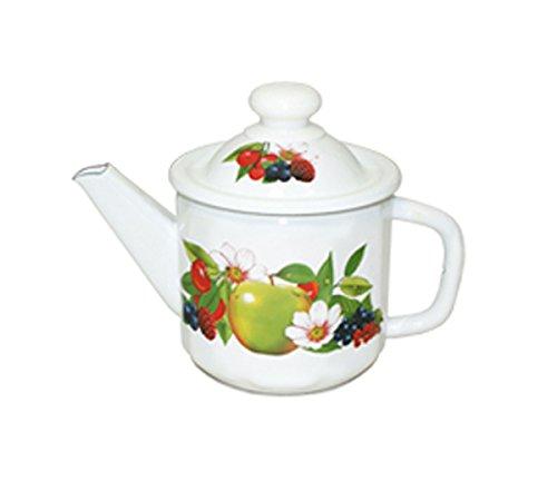 Emaille Teekanne Kaffeekanne 1 Liter ca 12,5cm Durchmesser Früchte / Retro Nostalgie Geschirr