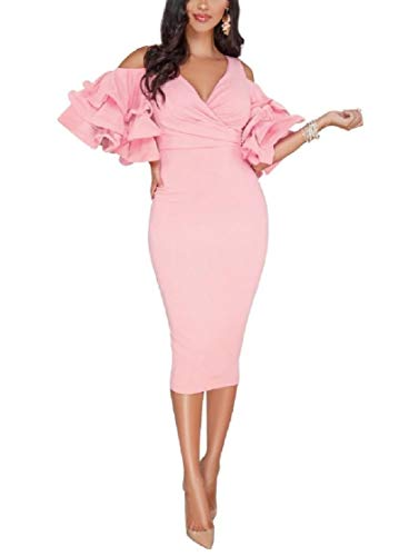 CuteRose Womens Flounced Puff Sleeve Cut Out Shoulder Evening Dresses Pink L Puff Sleeve Cotton Blend