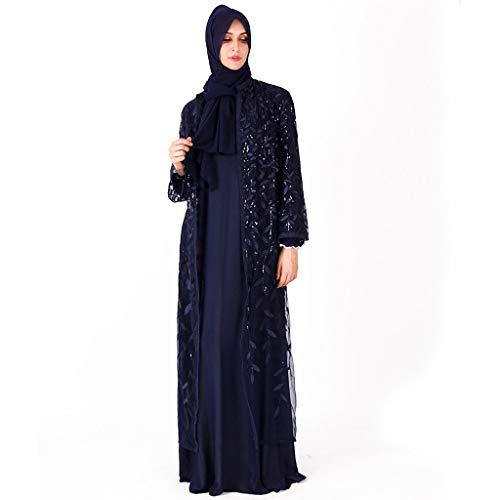 Dot Robe (GJKK Muslimische Kleider Islamische Muslim Langarm Maxikleid Abaya Kaftan Arabische Kleidung Abendkleider Muslimische Langes Kleid Elegant Moslemischer Muslimische Roben)