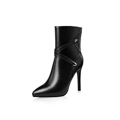 XHCP Herbst und Winter Neue Lederstiefel Damen Spitze Stöckelschuhe Stiefel Stiefel Fashion Damen Stiefel Schwarz (Winter Stiefel Neue)