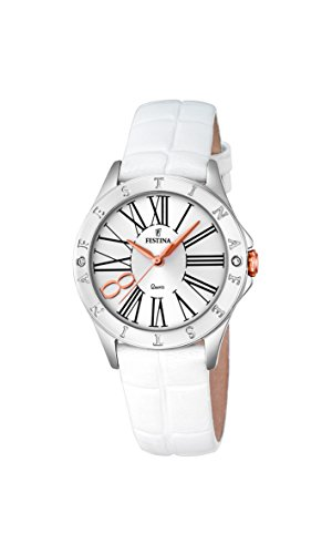 Festina BOYFRIEND Women's Quartz Watch with Silver Dial Analogue Display and White Leather Strap F16929/1