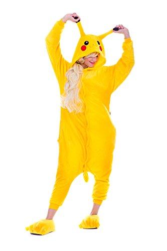 Pikachu Pyjamas Kostüm Jumpsuit Erwachsene Unisex Tier Cosplay Halloween Fasching Karneval Plüsch Schlafanzug Tierkostüme Anzug - Karneval Kostüme Tween