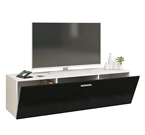 VCM Fernso 140 Meuble TV Bois, Blanc/Noir, 40 x 140 x 36 cm