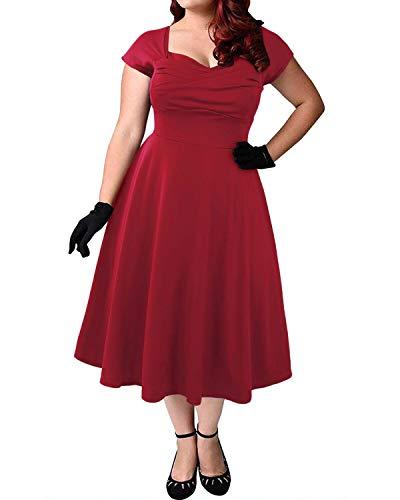 ABYOXI Damen Vintage A-Linie 50er Retro Rockabilly Kleid Knielang Abendkleid Große Größen Rot XL (Kleider Plus Größe Rot)