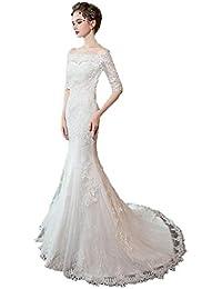 Vestido de novia con un Hombro, Vestido de Noche Delgado sin Mangas Ailin Home (