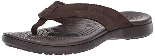 crocs Herren Santa Cruz Leather Flip M Dusch-& Badeschuhe, Braun Espresso 22z, 48/49 EU