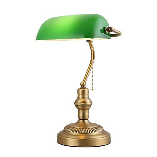 Bronze Opal Glas (BarcelonaLED Tisch- und Schreibtischlampe Vintange Sitzbank E27 Farbe grün 230 V 40 W Glas Kette Messing ordentliche Kontakte Retro Americano Banker Bank - LV419)