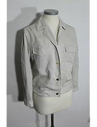 Safari camisa para mujer original vintage 70 70s beige Nylon blusa oro botones 40
