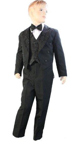 Schwanz Rückseite 5-teiliges SMOKING–inklusive Weste, Jacke mit Schwänzen, Hosen, Fliege & Shirt schwarz 6 Monate (Schwanz Smoking)