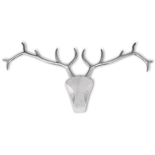 Festnight Cabeza de Ciervo Decorativa para Pared - Color de Plateado Material de Aluminio, 93X6X49 cm